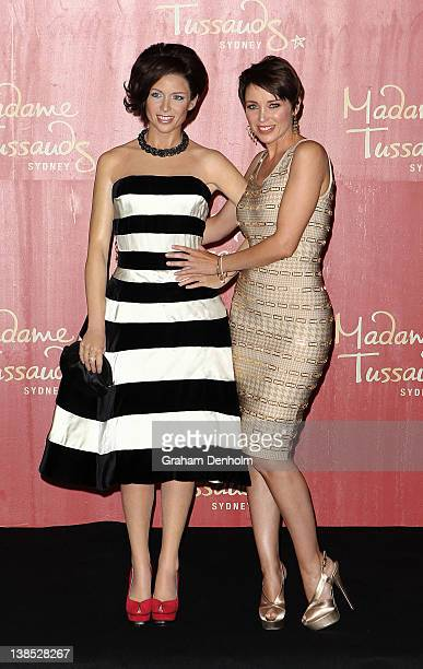 Australian TV personality and singer Dannii Minogue poses with her wax figure likeness at the reveal at the Sofitel on February 9 2012 in Melbourne...