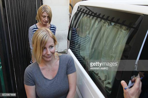Australian TV presenter Tara Brown and Sally Faulkner an Australian woman accused of abducting her children are released from prison on April 20 2016...