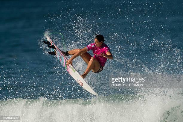 Australian Tyler Wright surfs during the first day of the ASP women world tour Billabong Rio Pro 2013 at Barra de Tijuca beach in Rio de Janeiro...