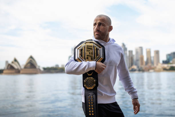 Australian UFC fighter Alex Volkanovski poses during a portrait session at Kirribilli on September 18, 2021 in Sydney, Australia. Alex 'The Great'...