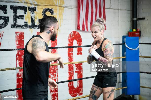 Australian UFC veteran and bare knuckle fighter Bec Rawlings and Adrian Rodriguez demonstrate bare knuckle boxing moves at City of Angels Boxing Club...
