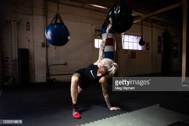 Australian UFC veteran and bare knuckle fighter Bec Rawlings warms up at City of Angels Boxing Club on August 16 2018 in Los Angeles California