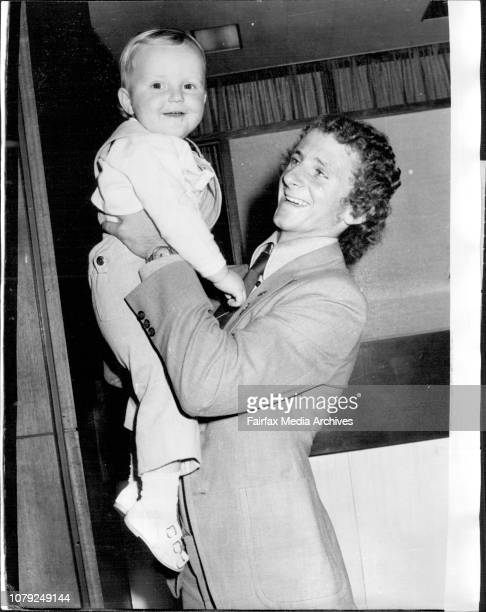 Australian under 23 Soccer team returned to Sydney today after an 11 day tour of IndonesiaVic Juchniewicz of Newcastle greets his 19 months old...
