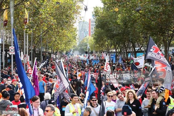 Australian union workers shut down the Melbourne CBD in protest over work conditions on May 9 2018 in Melbourne Australia Thousands of workers...
