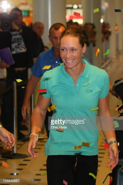 Australian US Open champion Sam Stosur arrives home at Brisbane Airport on September 17 2011 in Brisbane Australia Stosur won the 2011 US Open on...