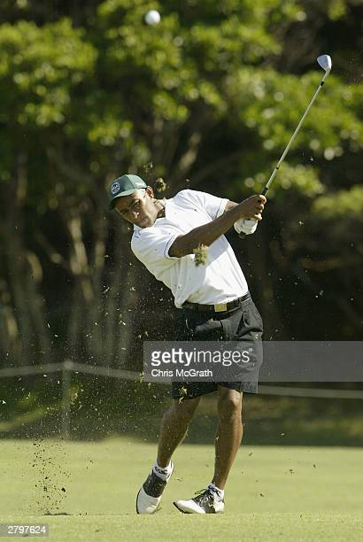 Australian Wallabies captain George Gregan plays his second shot on the fifth hole during the Australian PGA Championship Pro-Am December 10, 2003 at...