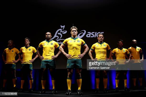 Australian Wallabies captain Michael Hooper and team mates pose during the Wallabies 2019 Rugby World Cup Jersey Launch at Carriageworks on May 29,...