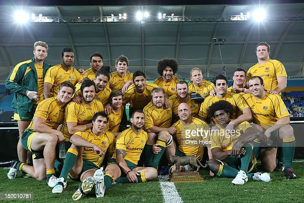 Australian Wallabies celebrate winning the Rugby Championship match between the Australian Wallabies and Argentina at Skilled Park on September 15,...
