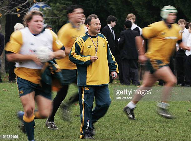 Australian Wallabies Coach Eddie Jones runs a drill during Australia's Rugby training session at St Pauls School on November 24 2004 in Hammersmith...
