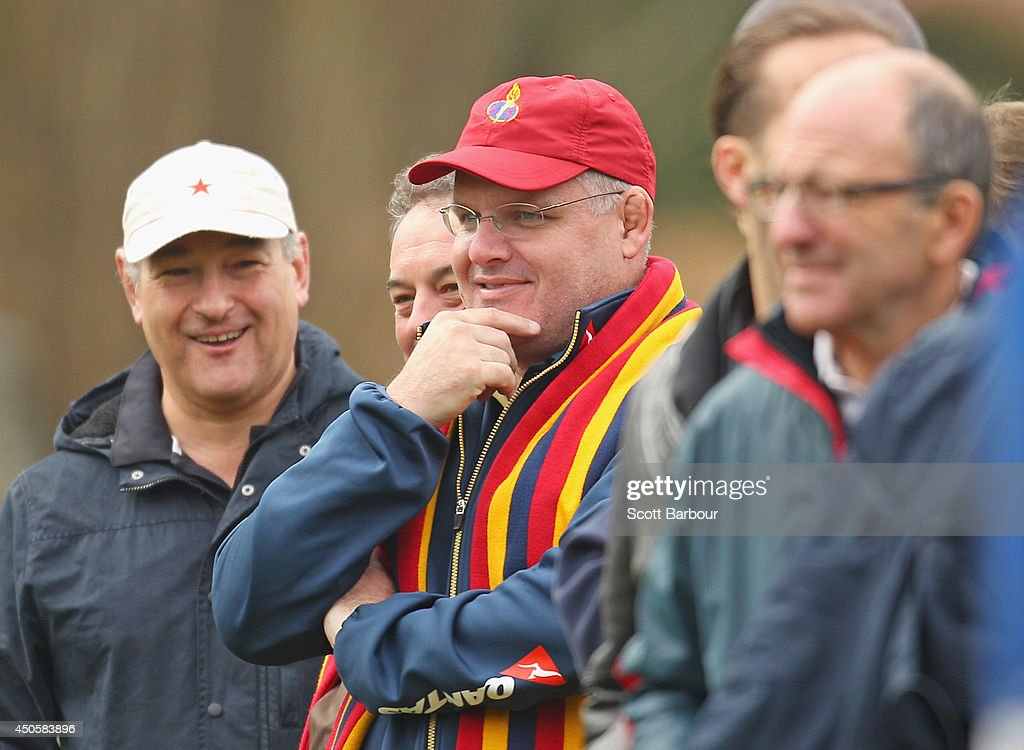 Australian Wallabies coach Ewen McKenzie watches the St. Kevin's College v Scotch College rugby match on June 14, 2014 at St Kevin's College in Melbourne, Australia.