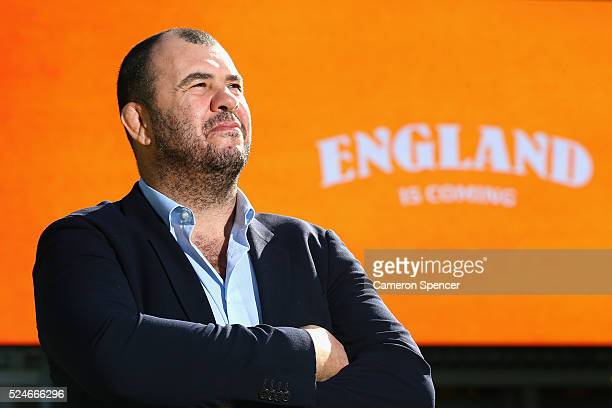 Australian Wallabies coach Michael Cheika poses after speaking to the media about the upcoming Australia v England Test Series at Allianz Stadium on...