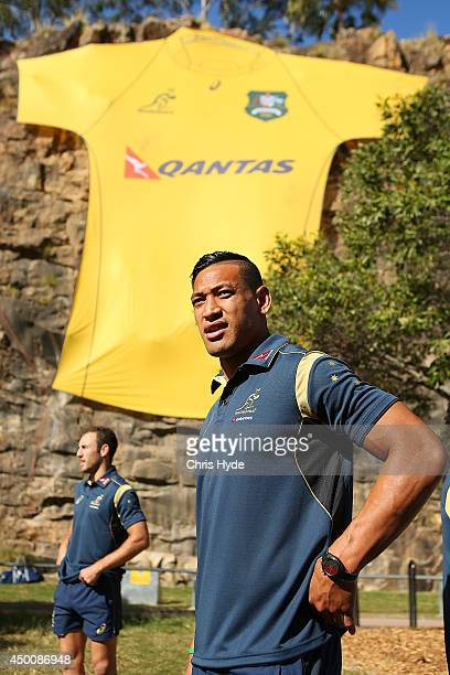 Australian Wallabies Israel Folau speaks to media during a joint Wallabies/Cricket Australia media session at Kangaroo Point Cliffs on June 5 2014 in...