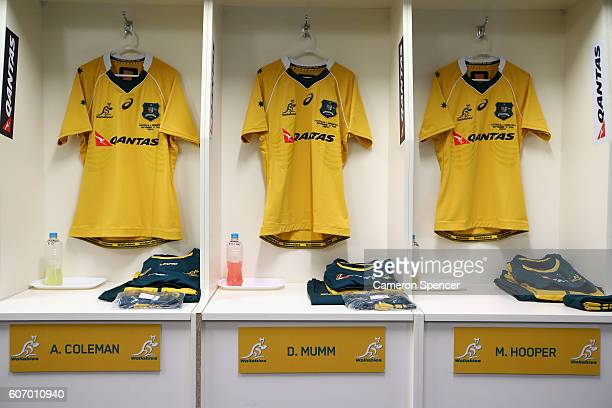 Australian Wallabies jerseys are seen in the Australian changeroom prior to the Rugby Championship match between the Australian Wallabies and...