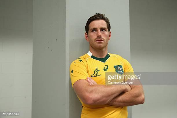 Australian Wallabies player Bernard Foley poses during the Australian Wallabies jersey launch at All Sorts Sports Factory on May 4 2016 in Sydney...