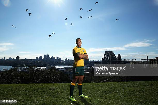 Australian Wallabies player Israel Folau poses during a portrait session on July 1 2015 in Sydney Australia Folau has continued his commitment to...