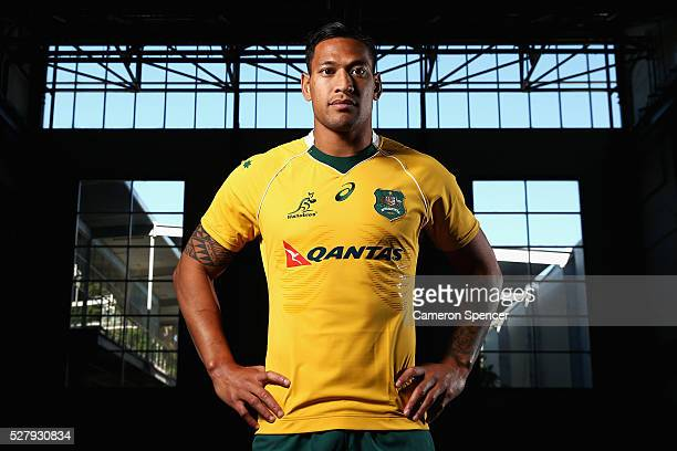 Australian Wallabies player Israel Folau poses during the Australian Wallabies jersey launch at All Sorts Sports Factory on May 4 2016 in Sydney...