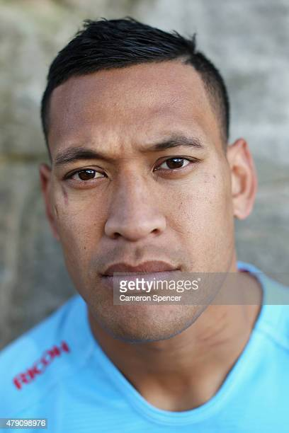 Australian Wallabies player Israel Folau poses in his Waratahs jersey during a portrait session on July 1 2015 in Sydney Australia Folau has...