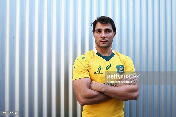 Australian Wallabies player Nick Phipps poses during the Australian Wallabies jersey launch at All Sorts Sports Factory on May 4 2016 in Sydney...