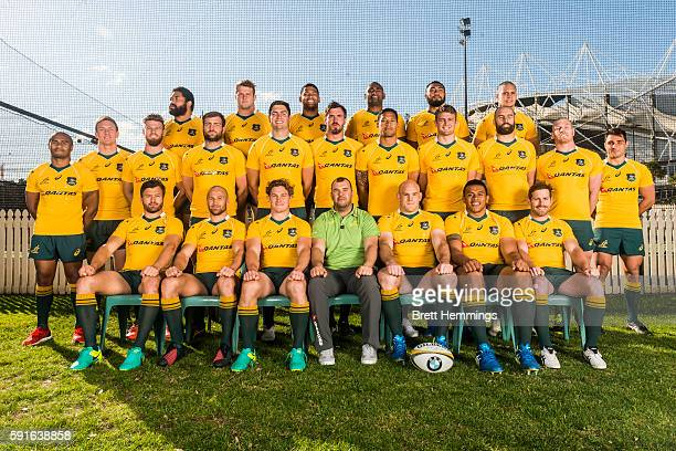 Australian Wallabies players pose for a team photo at Sydney Cricket Ground on August 18 2016 in Sydney Australia