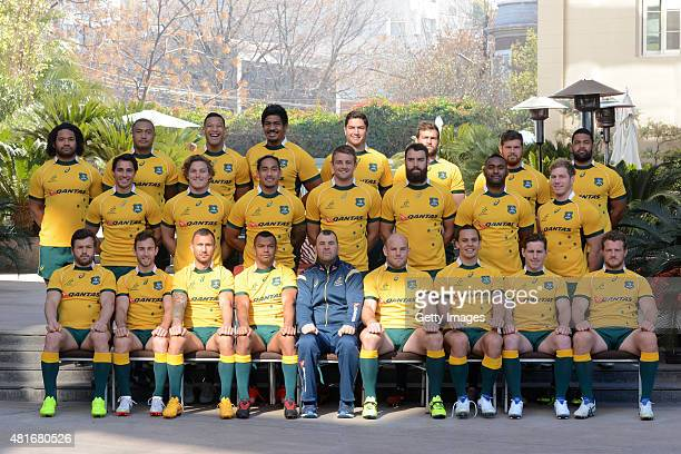 Australian Wallabies players pose for a team photo at the Park Hyatt on July 23 2015 in Mendoza Argentina