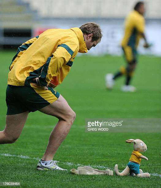 Australian Wallabies Rocky Elsom prepares for a training session in wet conditions in Auckland during the 2011 Rugby World Cup on October 12 2011 AFP...