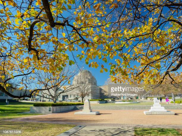 australian war memorial during autumn in canberra, australia - cenotaph stock pictures, royalty-free photos & images