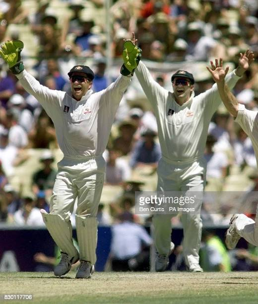 Australian wicketkeeper Ian Healy and Captain Mark Taylor celebrate after Darren Gough is caught and bowled by Stuart MacGill and Australia secure...