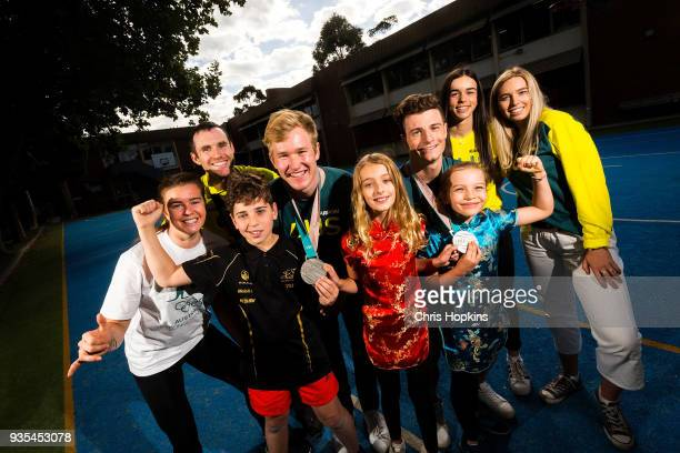 Australian Winter Olympic athlete Britt Cox David Morris Jarryd Hughes Matt Graham Jakara Anthony and Emily Arthur are seen with students Dorian Lily...
