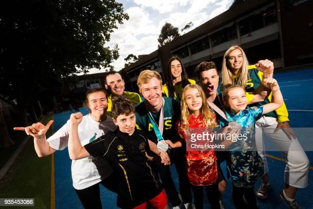 Australian Winter Olympic athlete Britt Cox David Morris Jarryd Hughes Matt Graham Jakara Anthony and Emily Arthur are seen with students Dorian Lily...