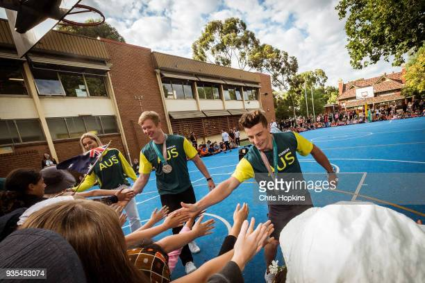 Australian Winter Olympic athlete Matt Graham is seen with students at Fitzroy North Primary School on March 21 2018 in Melbourne Australia Australia...