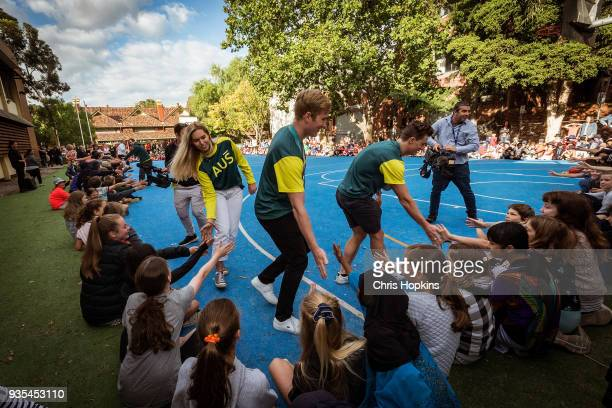 Australian Winter Olympic athletes Emily Anthony Jarryd Hughes and Matt Graham are seen with students at Fitzroy North Primary School on March 21...