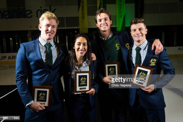 Australian Winter Olympic athletes Jarryd Hughes Lydia Lassila Scott James and Matt Graham pose for a portrait after athletes were presented at the...