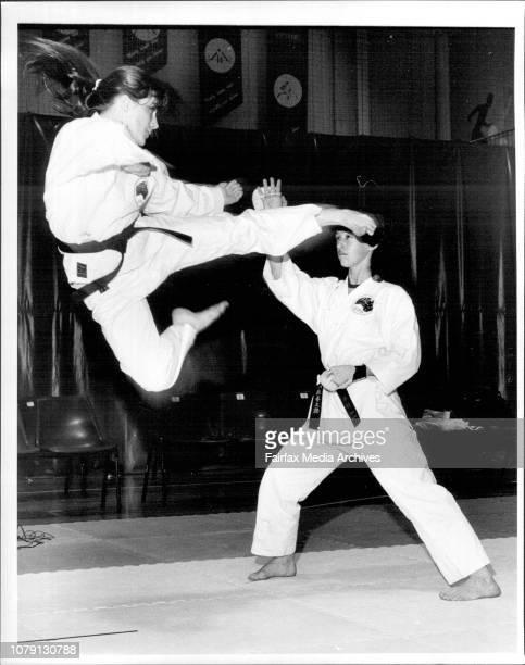 Australian woens Karate Team at Homebush Sports Centre1 to r Christine Ferguson amp Heather Healey October 1 1986