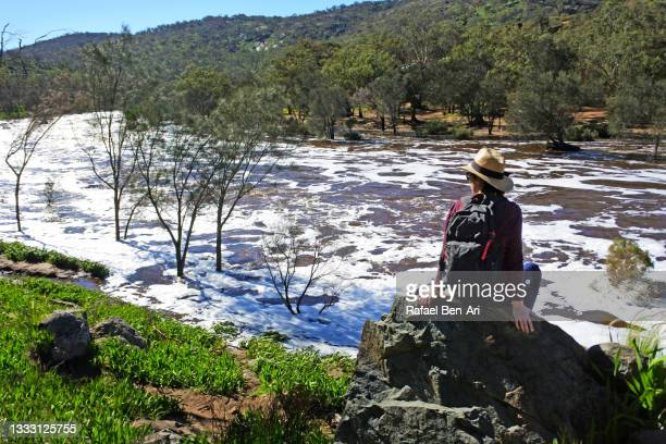australian woman hiking along sitting on a rock looking at the swan river near perth in western australia - rafael ben ari stock pictures, royalty-free photos & images