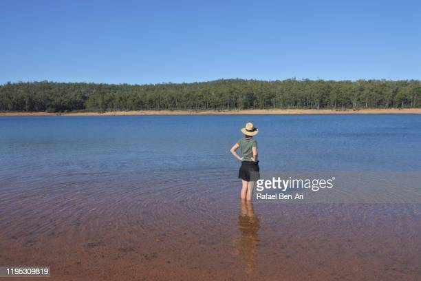 australian woman looking at view of wellington reservoir in western australia - rafael ben ari stockfoto's en -beelden