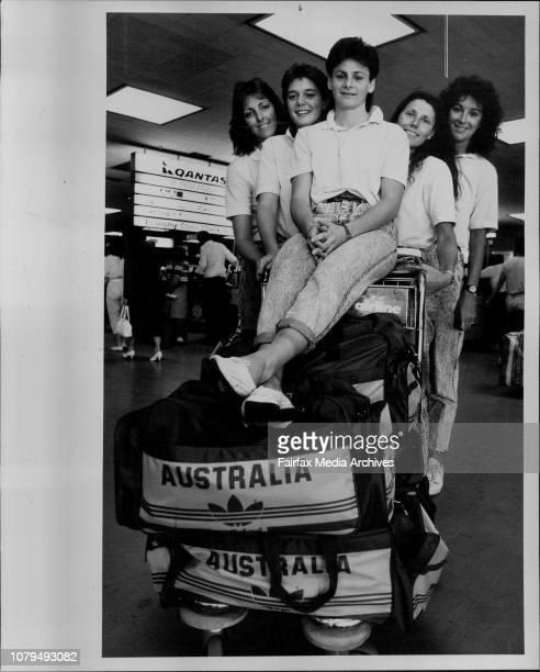 Australian Womens Basketball team at Sydney Airport leaving for LALeft to right Karen Dalton Shelly Gorman Sandra Brondello Jenny Cheesman Maree...