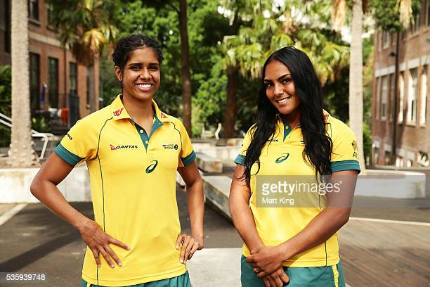 Australian Womens Sevens players Taleena Simon and Mahalia Murphy pose during the ARU Reconciliation Action Plan Launch at the National Centre for...