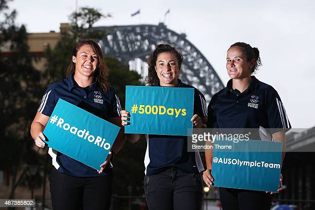 Australian Womens Sevens Rugby players Sharni Williams Emilee Cherry and Shannon Parry pose following a press conference with 500 days to go until...