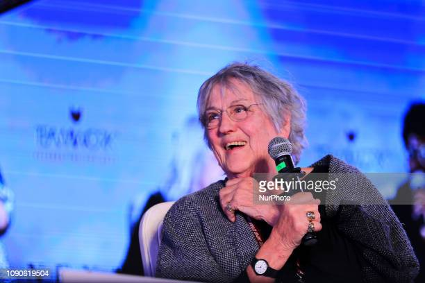Australian writer Germaine Greer speaks during the Jaipur Literature Festival 2019, at Diggi Palace in Jaipur ,Rajasthan,India Jan 27,2019.