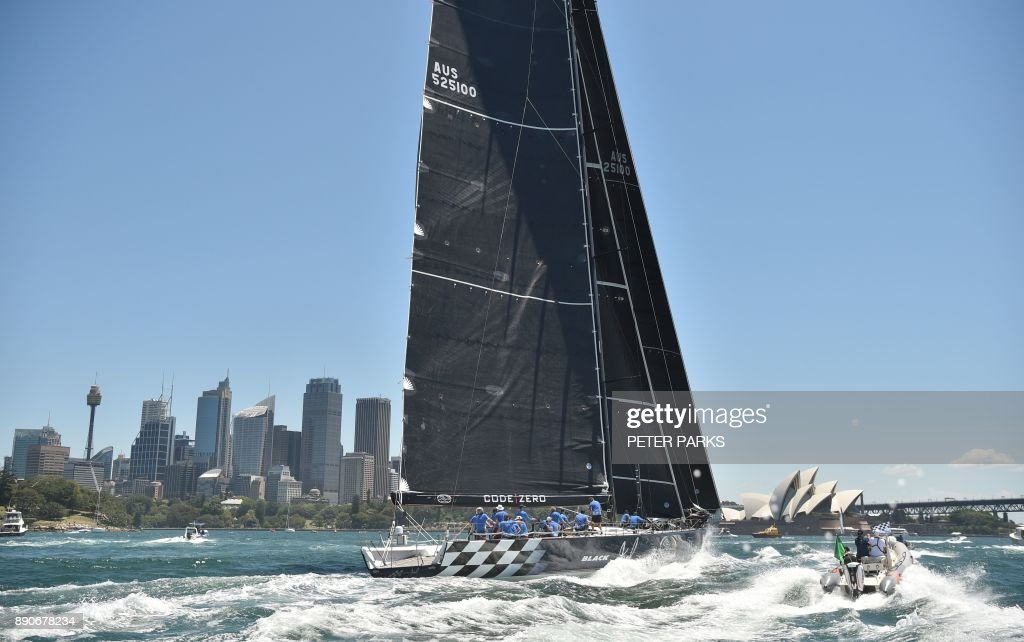 Australian yacht Black Jack heads first to the finish line