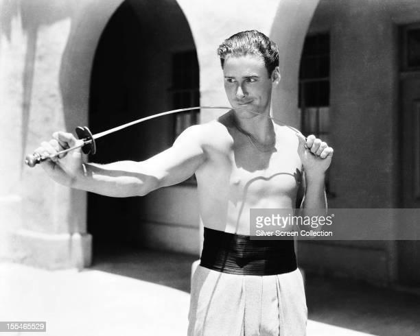 Australianborn American actor Errol Flynn on the set of 'Captain Blood' directed by Michael Curtiz 1934
