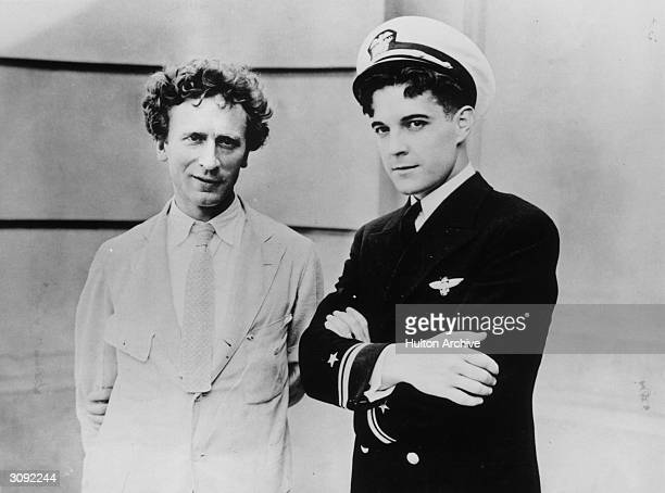 Australianborn composer Percy Grainger with on the right film actor Ramon Novarro star of the film 'The Flying Fleet' Grainger was well known for his...