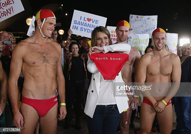 Australianborn presenter Savannah Guthrie introduces North Bondi lifeguards to her audience whilst hosting NBC's Today Show live from Australia at...