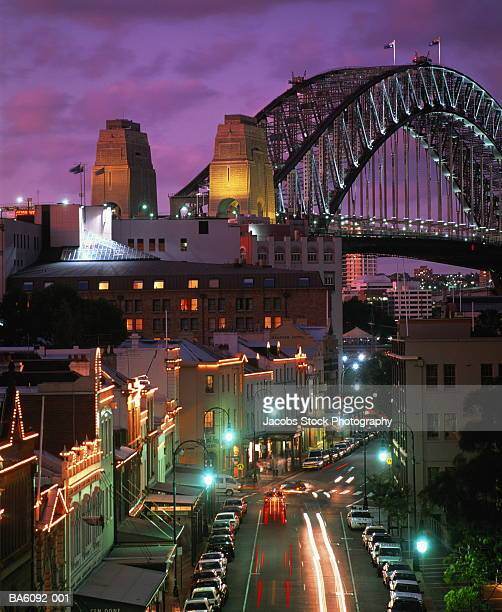 Australia,New South Wales,Sydney Harbour Bridge & The Rocks at night