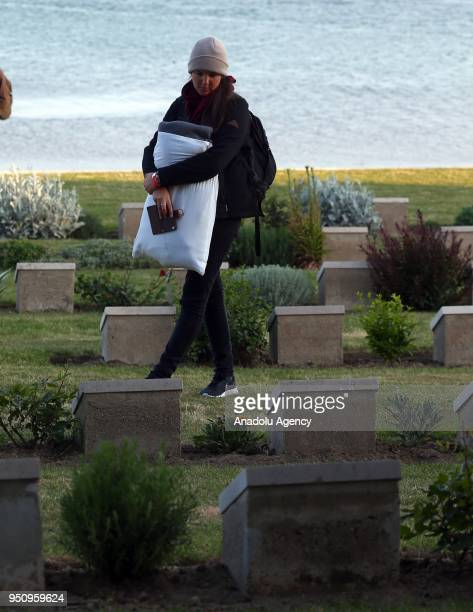 Australians and New Zealanders arrive at memorial after attending the traditional ANZAC Dawn service at Anzac Cove in commemoration of the 103rd...