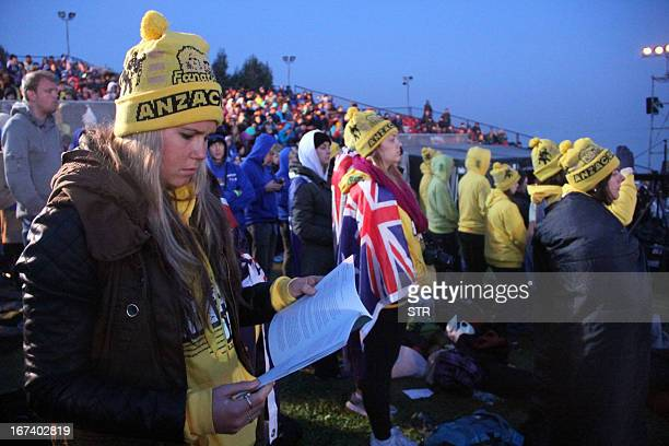 Australians and New Zealanders attend a ceremony marking the 98th anniversary of Anzac Day at Anzac Cove, in western Canakkale, on April 25, 2013....