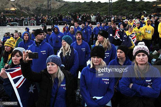Australians and New Zealanders attend a moving dawn service part of Anzac Day commemorations early on April 25 2012 at Gallipoli to mark the...
