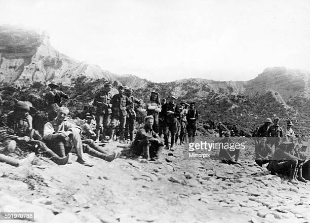 Australians at Anzac Cove awaiting the arrival of Turkish prisoners of war Circa May 1915