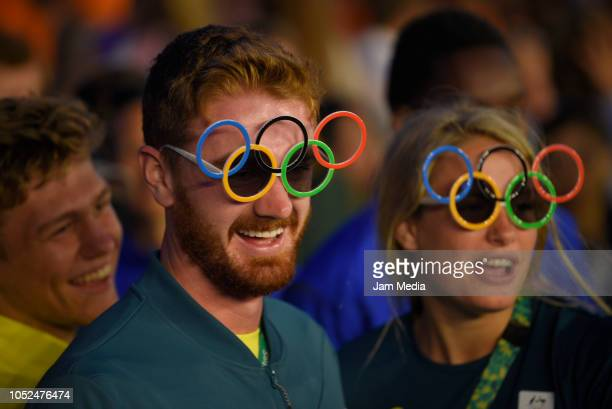 Australians athletes celebrate on day 12 during the closing ceremony of Buenos Aires 2018 Youth Olympic Games at Youth Olympic Park Villa Soldati on...