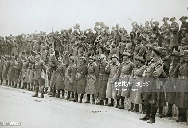Australians cheer King George V France World War I 1916 The King was visiting the troops during the Battle of the Somme Artist Unknown